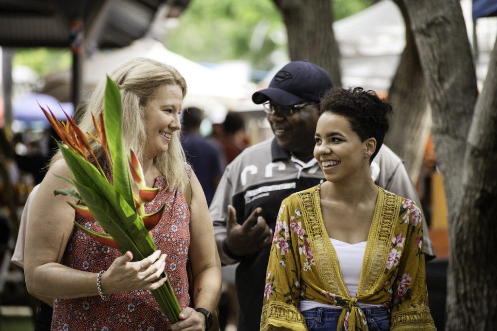 Kellene Lambert with a teenage girl at the markets
