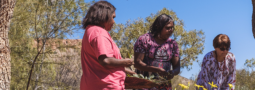 Raylene Brown collecting bush food with local women