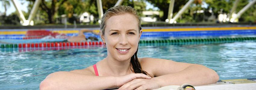 Renee Davis in the swimming pool